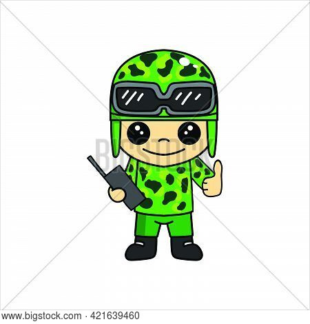 Mascot Illustration Of Cute Soldier Or Soldier Cartoon Character With Thumb And Radio