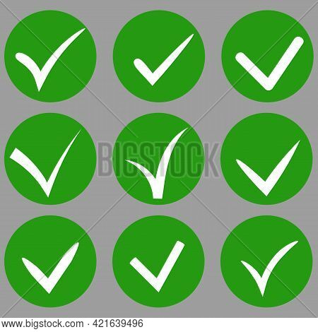 Set Of Hand-drawn Vector Tick Check In White Color Inside Green Circle. Variety Of Ticks In Differen