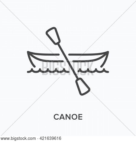 Canoe Flat Line Icon. Vector Outline Illustration Of Paddle Boat. Black Thin Linear Pictogram For Wa