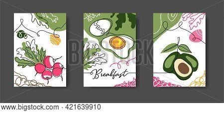 Breakfast Wall Line Art Decoration. Poster With Eggs, Radish, Avocado. Set Of Vector Illustrations,