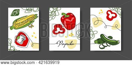 Mexican Vegetables Wall Line Art Decoration, Poster. Set Of Vector Illustrations. One Continuous Lin