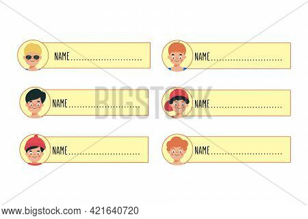Happy Cute Kids Boy Name Tag. Illustration Featuring Printable Name Tags For Boys
