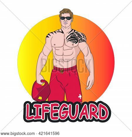 Lifeguard Logo Mascot Cartoon Character With Tattoo And Athletic Body