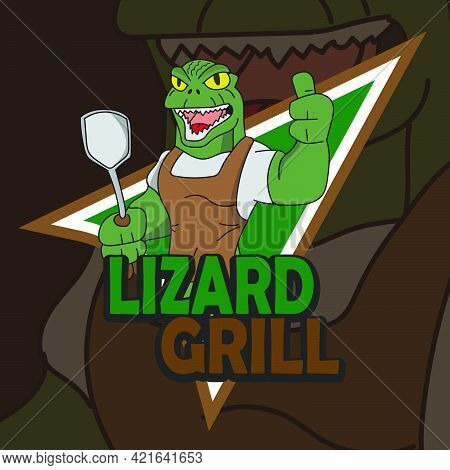 Lizard Logo Mascot Cartoon Character Cooking Barbeque