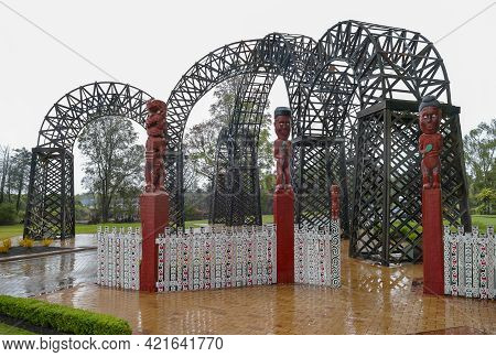 Rainy Impression Of Prince's Arch And Gateway At Rotorua In New Zealand