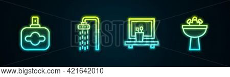 Set Line Perfume, Shower, Washbasin Mirror And With Water Tap. Glowing Neon Icon. Vector