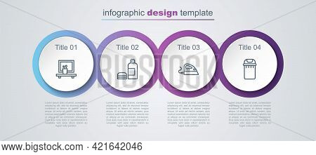 Set Line Washbasin Mirror, Bottle Of Shampoo, Electric Iron And Trash Can. Business Infographic Temp
