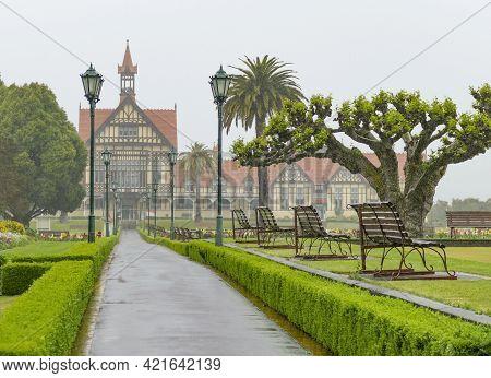 Rainy Impression Of The Rotorua Museum At Rotorua In New Zealand