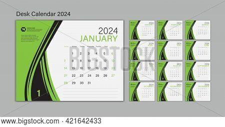Set Desk Calendar 2024 Template Vector, Planner Design, Wall Calendar 2024 Year, Poster, Week Start