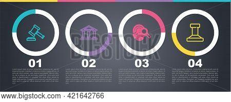 Set Line Judge Gavel, Courthouse Building, Fingerprint And Stamp. Business Infographic Template. Vec