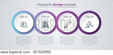 Set Line Law, Office Folders, Fountain Pen Nib And Judge Gavel. Business Infographic Template. Vecto
