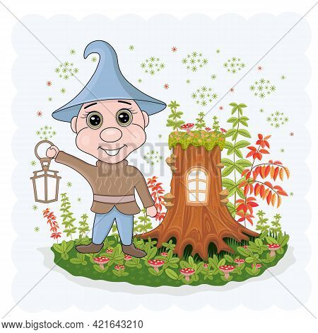 Vector Illustration Of A Fairy Dwarf, Elf In The Forest With A Lantern. Stump House.