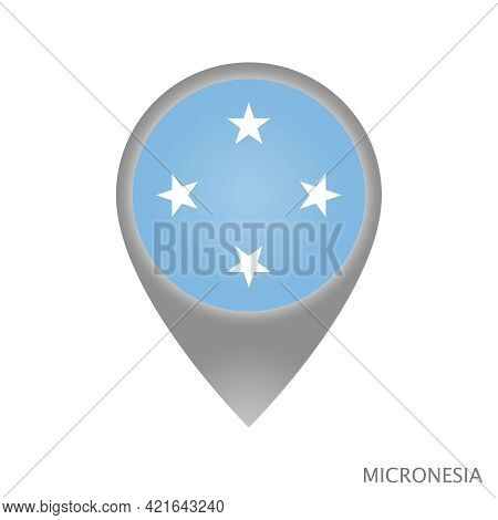Map Pointer With Flag Of Micronesia. Micronesia Pointer Map Isolated Icon. Vector Illustration