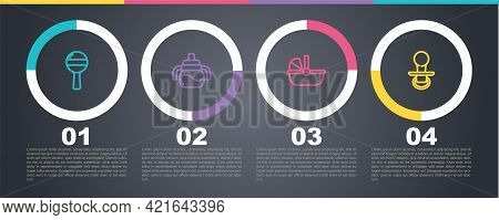 Set Line Rattle Baby Toy, Baby Bottle, Stroller And Dummy Pacifier. Business Infographic Template. V