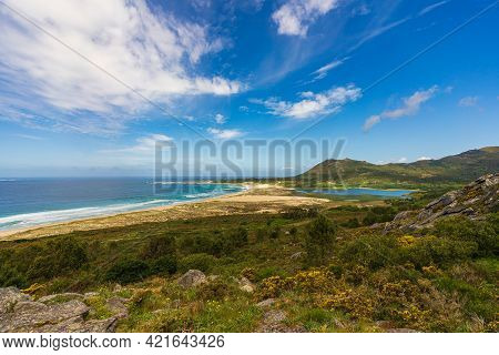 Area Mayor Beach View From Mount Louro In Galicia, Spain.