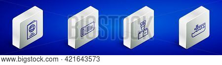 Set Isometric Line Passport, Cruise Ticket, Captain Of Ship And Beach Pier Dock Icon. Vector
