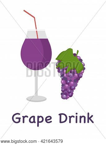 Glass Of Grapes And Labeled Grape Drink For Use In Menu Or Web Design