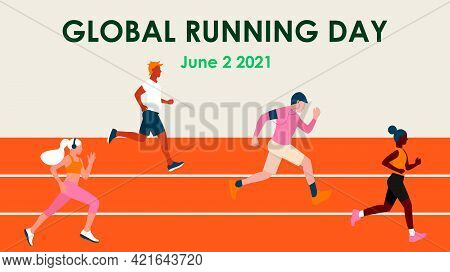 Global Running Day. Different Skin Color People In A Sports Uniform Jogs Through The Stadium. Sport