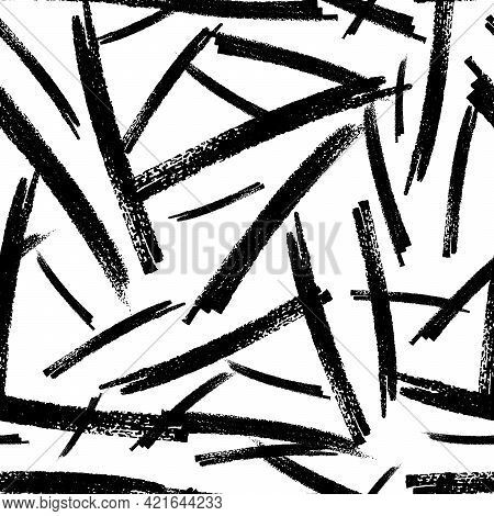 Seamless Pattern With Black Marker Brushstrokes In Abstract Shapes On White Background. Vector Illus