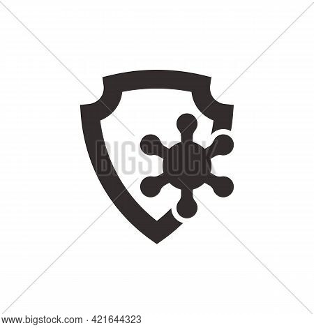 Virus Protection Vector Icon. Concept Of Vaccination, Immune System Protection From Viruses, Hygiene