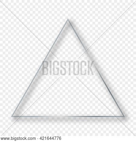 Silver Glowing Triangle Frame With Shadow Isolated On Transparent Background. Shiny Frame With Glowi