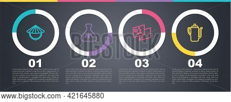 Set Line Chinese Conical Straw Hat, Dumpling, China Flag And Tea Ceremony. Business Infographic Temp
