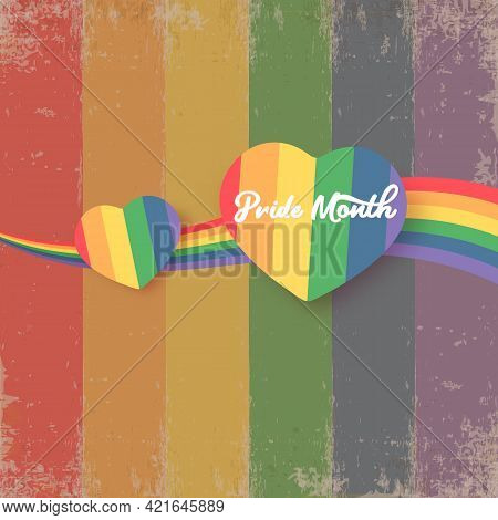 Happy Pride Month Banner With Heart And Pride Color Flag Isolated On Rainbow Lgbt Flag Background. V