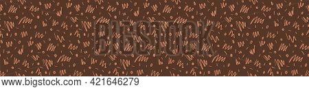 Seamless Minimalist Doodle Border Pattern. Calm Earthy Color Edge Banner. Simple Modern Scandi Unise