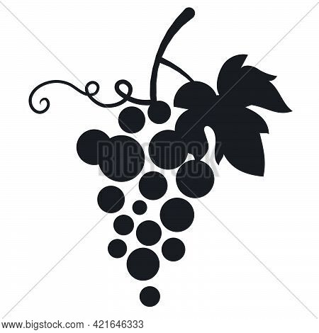 Black And White Sign Logo Of The Grape And Winery