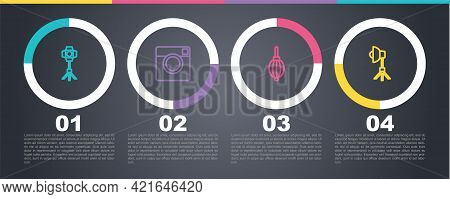 Set Line Softbox Light, Photo Camera, Dust Blower And . Business Infographic Template. Vector