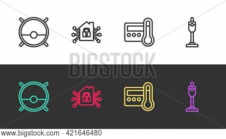 Set Line Robot Vacuum Cleaner, Smart Home, Thermostat And Vacuum On Black And White. Vector