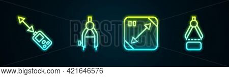 Set Line Laser Distance Measurer, Drawing Compass, Diagonal Measuring And . Glowing Neon Icon. Vecto