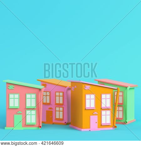 Colorful Cartoon Styled Houses On Bright Blue Background In Pastel Colors. Minimalism Concept. 3d Re