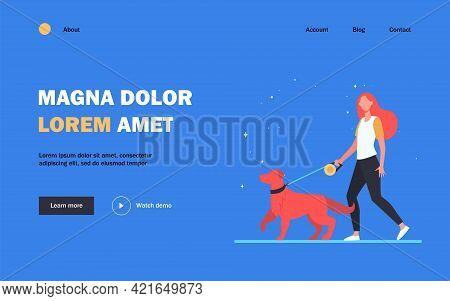 Young Woman Walking Dog On Leash. Girl Leading Pet In Park Flat Vector Illustration. Animal Care, Ad