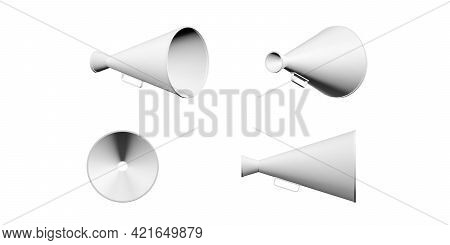 Old Megaphone Mockup Isolated On A White Background - 3d Render