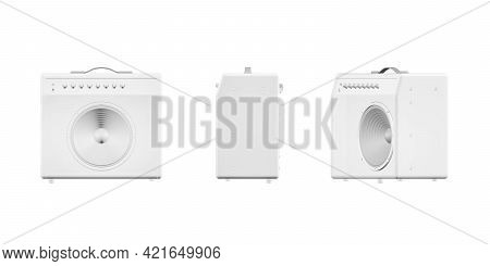 Guitar Amplifier Mockup Isolated On White Background - 3d Render