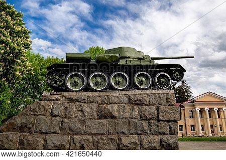 Soviet Tank T-34 Of World War Ii As A Monument In The City Center.