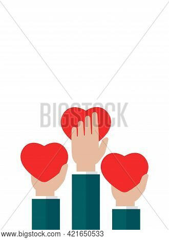 Hands Holding Red Heart On White Vertical Background. Charity, Philanthropy, Support, Giving, Help,