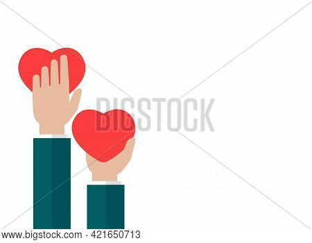 Hands Holding Red Heart On White Background. Charity, Philanthropy, Support, Giving, Help, Love Conc