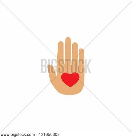 Hand With Red Heart On White Background. Charity, Philanthropy, Giving Help, Love Concept. Flat Vect