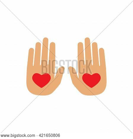 Hands With Red Heart On White Background. Charity, Philanthropy, Giving Help, Love Concept. Flat Vec