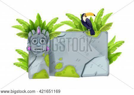 Jungle Stone Vector Sign Board, Cartoon Game Ui Rock Tablet, Granite Cracked Boulder Frame, Toucan,