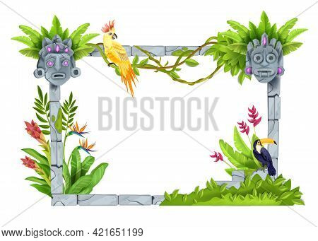 Jungle Forest Frame, Vector Stone Tropical Nature Background, Game Ui Object, Toucan, Parrot, Maya T
