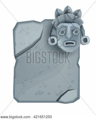 Cartoon Vector Stone Sign Board, Game Rock Ui Design Element, Granite Cracked Boulder, Totem Face. M