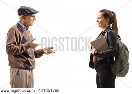 Grandfather talking to a female student isolated on white background