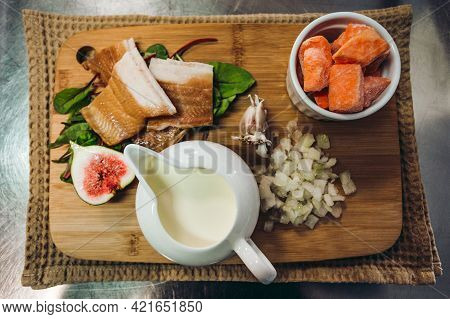 Ingredietns To Preparing The Cod Fish Fillet With Orange Soup With Sweet Potatoes And Other Tasty Ve