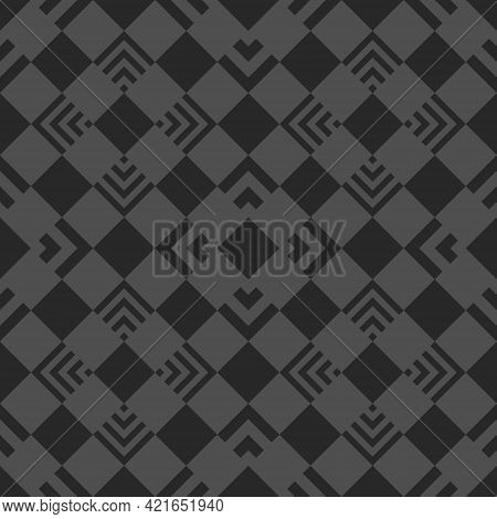 Seamless Gray Background Pattern. Checkered Square, Diamond-shaped, Monochromatic Color, Thick Lines