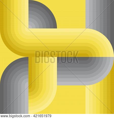 Abstract Background Pattern. Tube Shapes With Yellow And Gray Gradients. Cross Lines Intersect And C