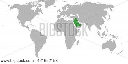 Iraq, Saudi Arabia Highlighted Green On World Map. Chart Background And Wallpaper.