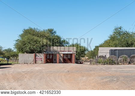 Beaufort West, South Africa - April 3, 2021: Entrance To The Caravan Park At Steenbokkie Nature Rese